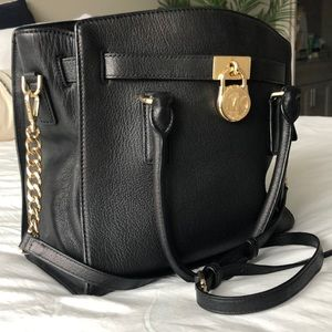 Michael Kors Black Handbag with Gold Hardware